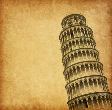 italian architecture: Old paper with leaning Tower of Pisa, Italy.