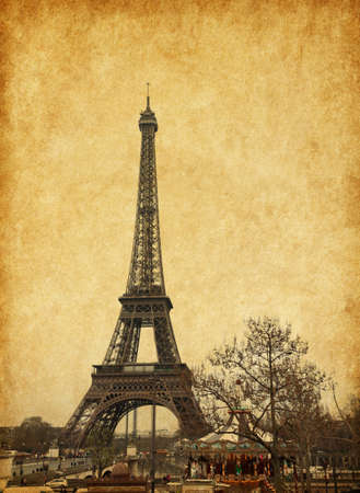 Eiffel tower, Paris, France. Added paper texture. photo
