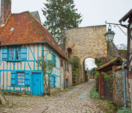 half timbered: Old street in medieval village. Gerberoy is a commune in the Oise department in northern France.