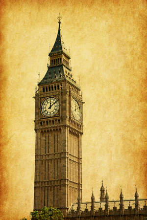 Big Ben,  London, UK.  Added paper texture photo