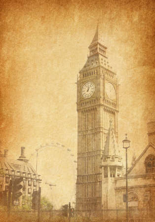 Big Ben,  London, UK. View from Abingdon street. added paper texture photo