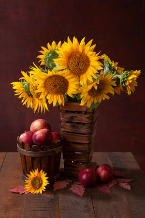 Still life with Sunflowers and apples on old wooden table photo