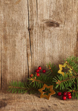 Christmas decoration on wooden plank. Imagens