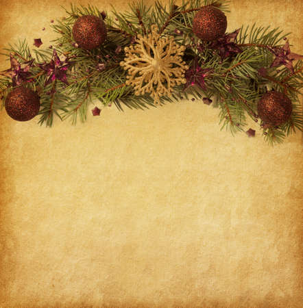 grunge border: Beige paper background with Christmas border.