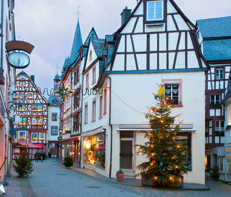 half timbered: Christmas Eve in Bernkastel-Kues, Germany. Stock Photo