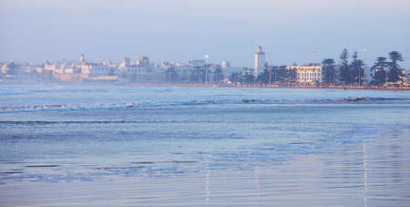 atlantic city: Essaouira , Morocco.  City and Wilaya  in  mist  at sunset., view from the beach Stock Photo