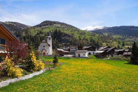 Inden village in sunny  day,   canton of Valais, Switzerland. photo