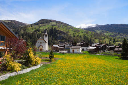 valais: Inden village in sunny  day,   canton of Valais, Switzerland. Stock Photo