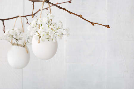 Bunch of white gypsophila  flowers  in eggs shell on the white wooden plank. Shallow depth of field, focus on near flowers. Easter decor Standard-Bild