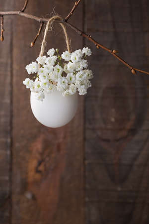 Bunch of of white gypsophila  flowers in egg shell on the brown wooden plank. Shallow depth of field, focus on near flowers. Easter decor photo