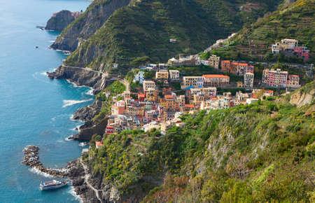 spezia: A view of Riomaggiore and neighborhood, province of La Spezia, Liguria, Italy.