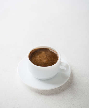 coffeetime: Cup of coffee on old rustic  table. Stock Photo