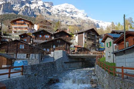 valais: Leukerbad village, canton of Valais in Switzerland. Stock Photo