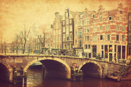 prinsengracht: Retro image of Prinsengracht Canal, Amsterdam, The Netherlands.  Added paper texture. Toned image