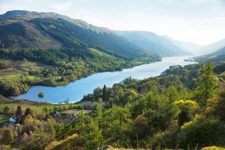 typically british: Loch Voil in spring evening. The village of Balquhidder lies near the head of Loch Voil, Perthshire,  Scotland, UK.