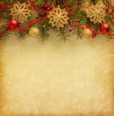 antique paper: Beige paper background with Christmas border.