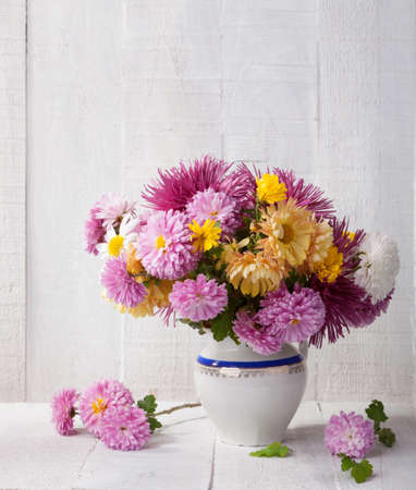 flower pot: Still life with colourful chrysanthemums bunch on old white wooden board