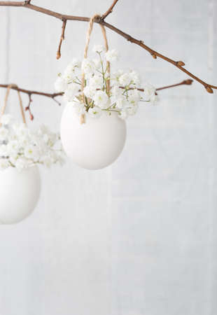 white eggs: Bunch of white babys breath flowers (gypsophila) in eggs shell on the white wooden plank. Shallow depth of field, focus on near flowers. Easter decor Stock Photo