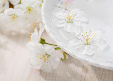 background material: Floating flowers ( Cherry blossom) in white bowl. Focus on near flower