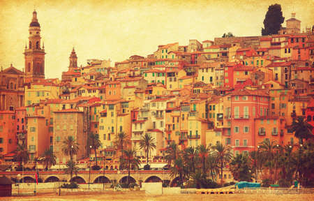 menton: Colorful houses in old part of Menton, France.  Added paper texture. Toned image