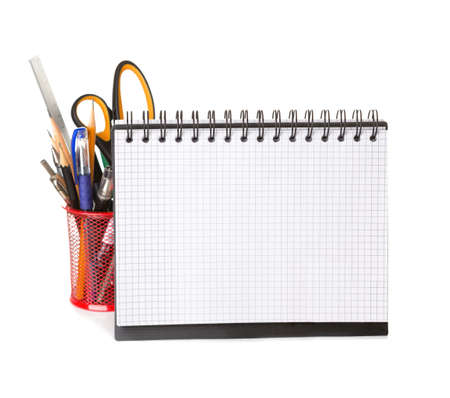 objects equipment: School equipment with pencils,   notebook    isolated on white.
