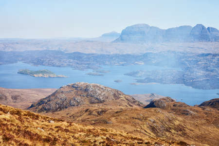 unearthly: Unearthly mountain landscape.  Loch Sionascaig and Suilven in spring ( View from Stac Pollaidh  towards Suilven), Inverpolly, Northwest Highlands, Scotland