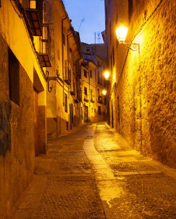 mancha: Old  street in Cuenca by late evening, Spain