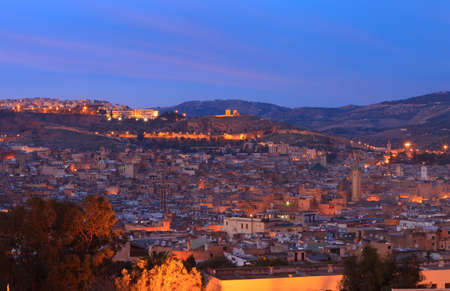 fes: View of the medina (old city) of Fez by late evening, Morocco