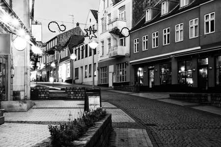 small town life: Evening in Sonderborg, Southern Denmark. Black and White