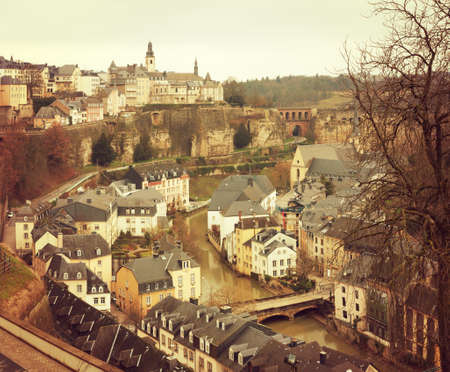 Luxembourg City. View of the old town. Toned image.