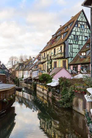 Canal in  Colmar, France.  Stock Photo