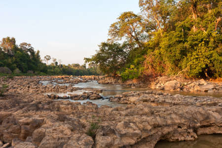 national plant: Ben Cu Rapids in Dong Nai River at sunset (dry season), Cat Tien National Park, Vietnam, Asia.