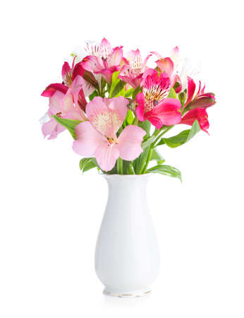 Bouquet of Alstroemeria flowers in  white porcelain vase isolated on white background.