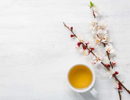 Kopje groene thee en takken van bloeiende abrikoos op oude houten shabby achtergrond