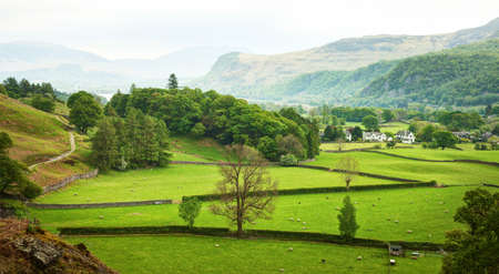 Beautiful  English countryside in spring, Lake District, Cumbria, England,  UK. Stock Photo