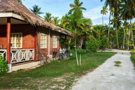creole: Traditional  old house in  island of  La Digue,  Seychelles Stock Photo