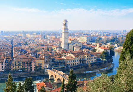 View of Verona city with Ponte Pietra  and the river Adige at sunny morning,  Italy. Stock Photo - 85763534