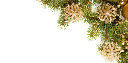 Fir branch with Christmas decorations   isolated on white background Zdjęcie Seryjne