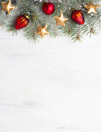 Christmas decoration on old wooden shabby background. Flat lay. Stok Fotoğraf