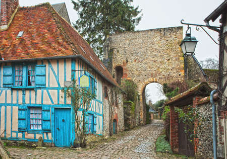 Old street in  Gerberoy , northern France.