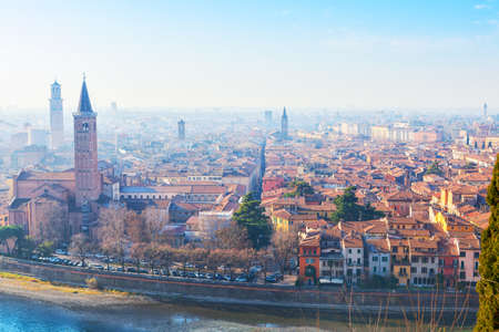 View of Verona city with the river Adige on a sunny morning,  Italy. Imagens