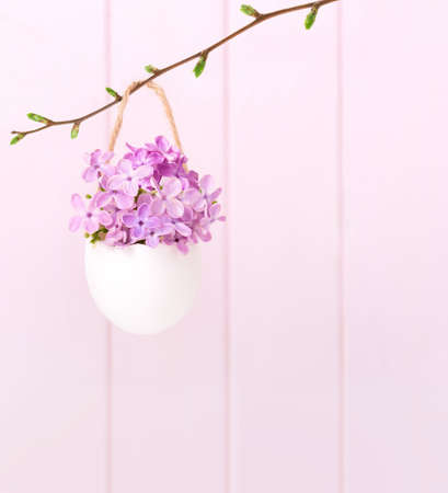 Flowers of  Lilac (Syringa) in eggshell on a light pink background.  Easter decor.