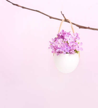 Flowers of  Lilac (Syringa) in eggshell on  light pink background.  Easter decor.