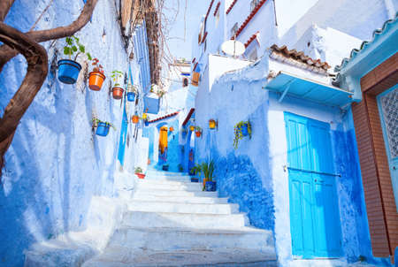 Colourful narrow street  in the medina, Chefchaouen, Morocco