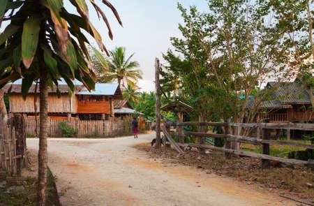 Typical village near Burma border, Umphang district, Tak Province, northwestern Thailand. Stok Fotoğraf