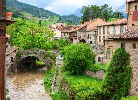 River Quiviesa, through San Cayetano bridge in Potes, Cantabria, Spain.