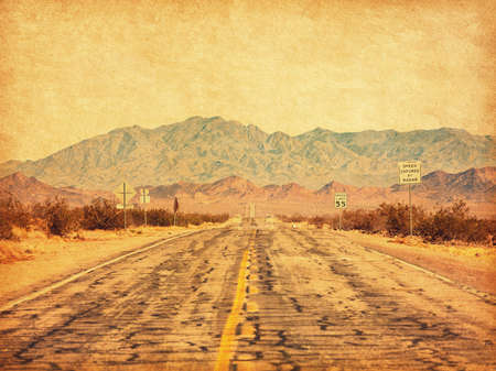 Route 66 crossing the Mojave Desert (near Amboy), California, United States.  Photo in retro style. Added paper texture. Toned image