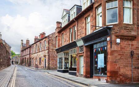 Street with old typical  houses,  Melrose, Scottish Borders,Scotland, United Kingdom.