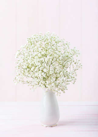 Small bouquet of Gypsophila flowers in porcelain white  vase against a light pale  pink wooden background. Selective focus.