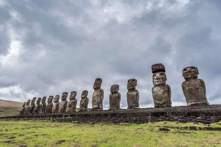 The 15 famous moai of tongariki